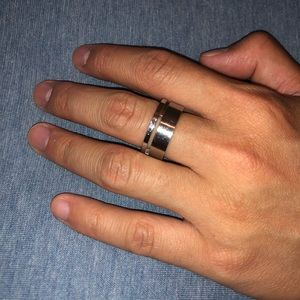 Other - 18K Two Tone Steel and Yellow Gold Men's Ring